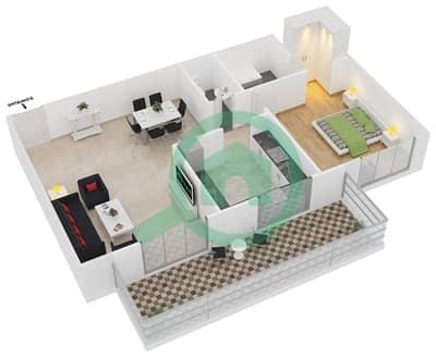 Azizi Orchid - 1 Bed Apartments type/unit 2A/8 Floor plan