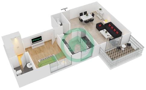 Azizi Orchid - 1 Bed Apartments type/unit 1A/6 Floor plan