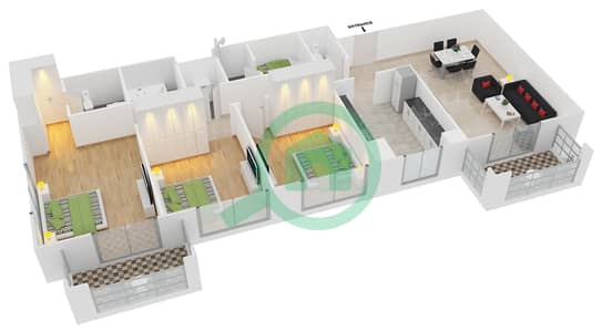 Azizi Feirouz - 3 Bedroom Apartment Type/unit 1B/09 Floor plan