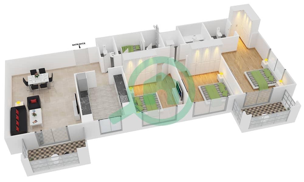 المخططات الطابقية لتصميم النموذج / الوحدة 1B/08 شقة 3 غرف نوم - عزيزي فيروز Floor 3 - 11 image3D