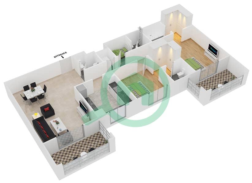 Azizi Feirouz - 2 Bedroom Apartment Type/unit 2B/04 Floor plan Floor 3 - 11 image3D