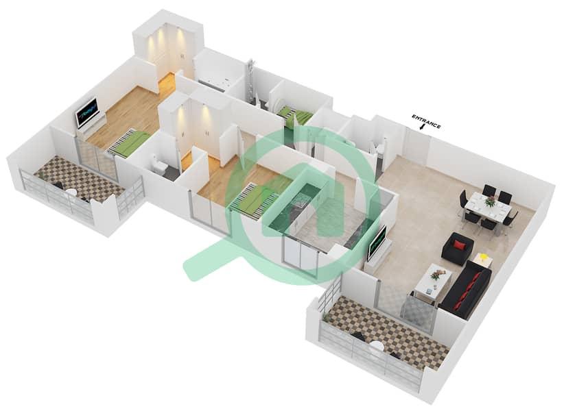 المخططات الطابقية لتصميم النموذج / الوحدة 2A/04 شقة 2 غرفة نوم - عزيزي فيروز Floor 2 image3D