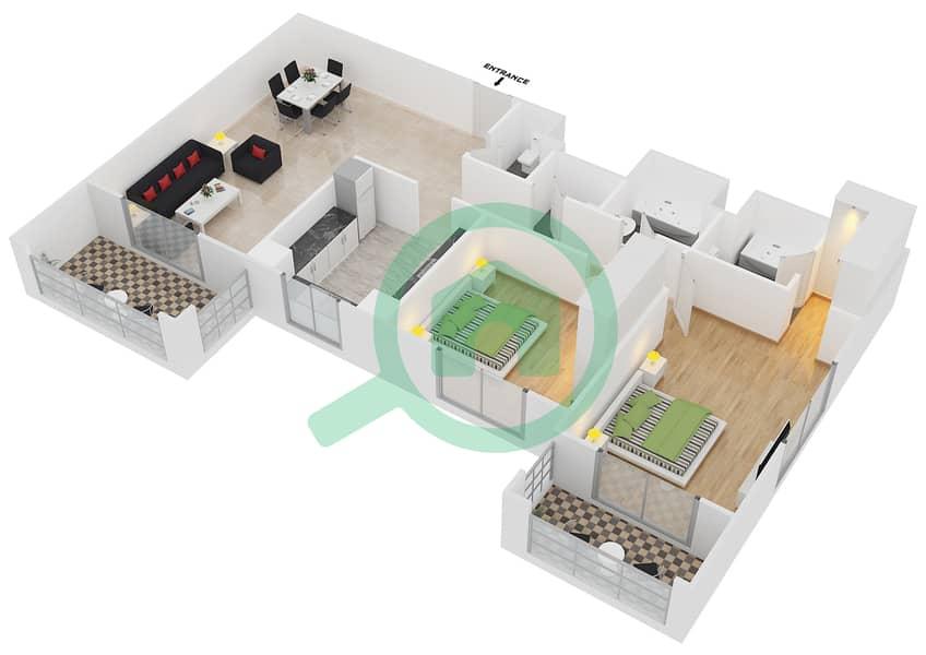 المخططات الطابقية لتصميم النموذج / الوحدة 2B/04 شقة 2 غرفة نوم - عزيزي فيروز Floor 3 - 11 image3D