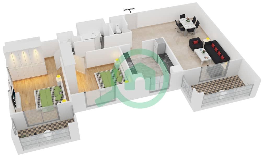 المخططات الطابقية لتصميم النموذج / الوحدة 1B/01 شقة 2 غرفة نوم - عزيزي فيروز Floor 3 - 11 image3D