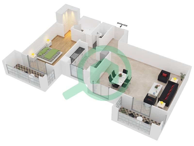 المخططات الطابقية لتصميم النموذج / الوحدة 2A/07 شقة 1 غرفة نوم - عزيزي فيروز Floor 2 image3D