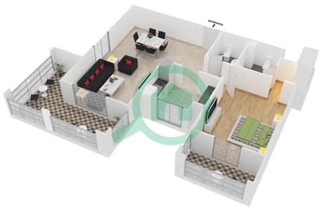 Azizi Feirouz - 1 Bedroom Apartment Type/unit 1B/07 Floor plan