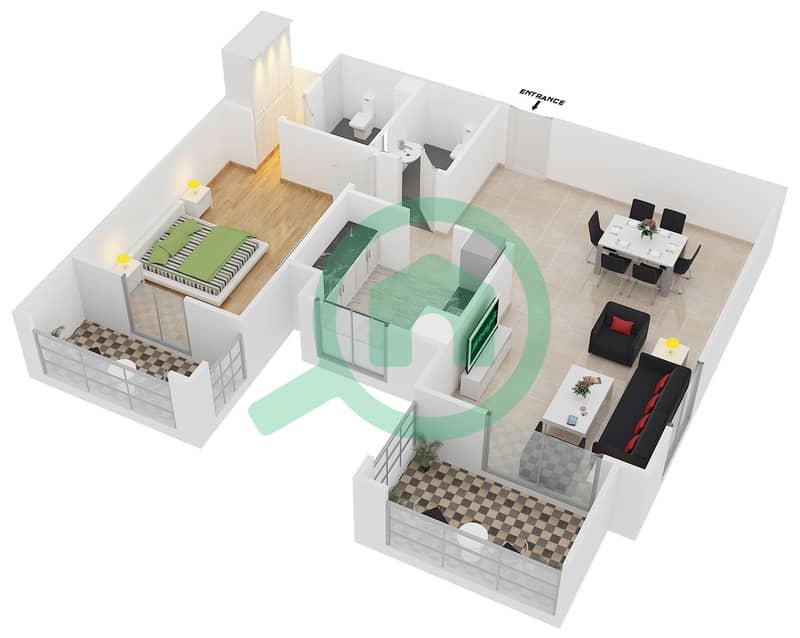 المخططات الطابقية لتصميم النموذج / الوحدة 1A/05 شقة 1 غرفة نوم - عزيزي فيروز Floor 2 image3D