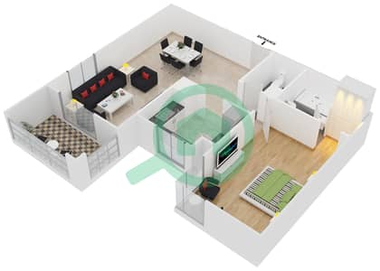Azizi Feirouz - 1 Bedroom Apartment Type/unit 1B/05 Floor plan