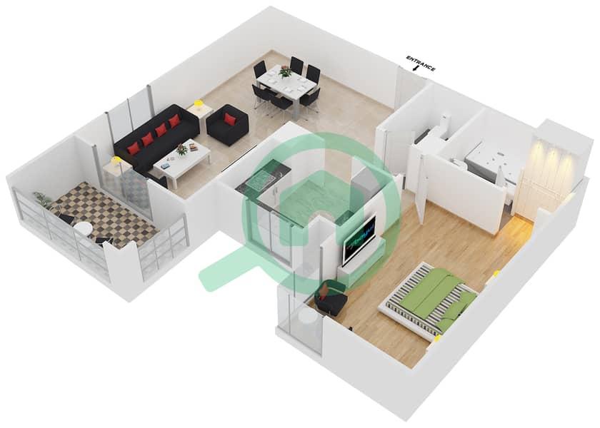 المخططات الطابقية لتصميم النموذج / الوحدة 1B/05 شقة 1 غرفة نوم - عزيزي فيروز Floor 3 - 11 image3D