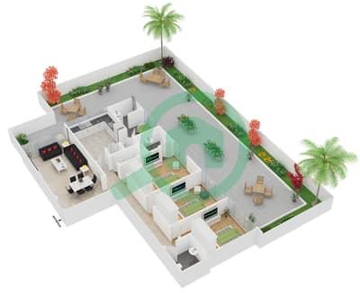 مساكن مورانو - 3 غرف شقق نوع 11 مخطط الطابق