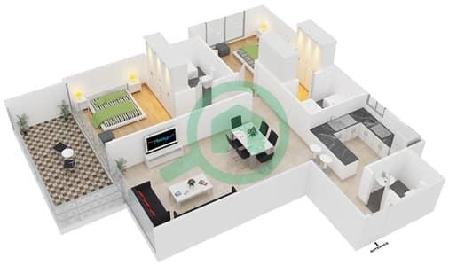مساكن مورانو - 2 غرفة شقق نوع 07 مخطط الطابق