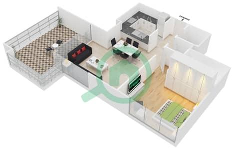 مساكن مورانو - 1 غرفة شقق نوع 01 مخطط الطابق