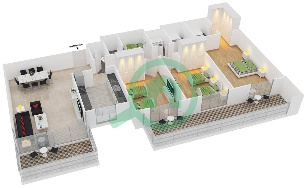 المخططات الطابقية لتصميم النموذج / الوحدة 1C/09 شقة 3 غرف نوم - عزيزي آيريس image3D