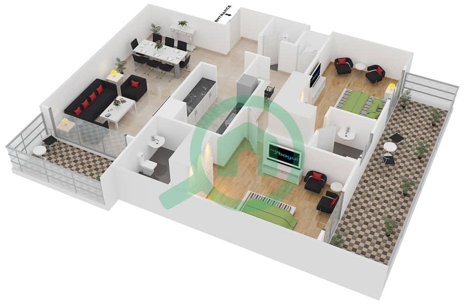 المخططات الطابقية لتصميم النموذج / الوحدة 6B/07 شقة 2 غرفة نوم - عزيزي آيريس image3D