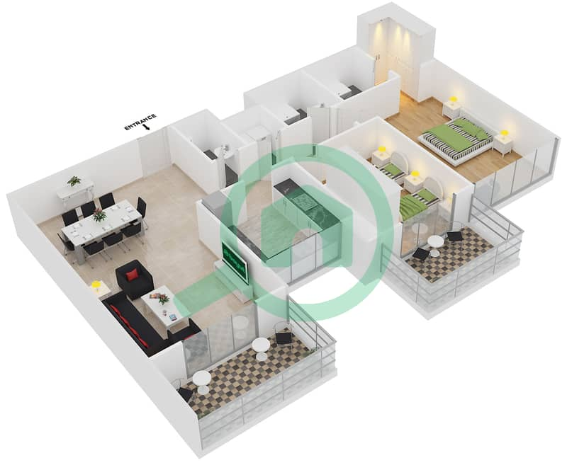 المخططات الطابقية لتصميم النموذج / الوحدة 5B/05 شقة 2 غرفة نوم - عزيزي آيريس image3D