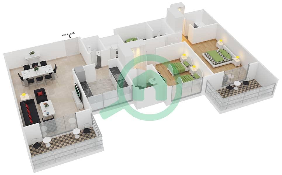 المخططات الطابقية لتصميم النموذج / الوحدة 3B/03 شقة 2 غرفة نوم - عزيزي آيريس image3D