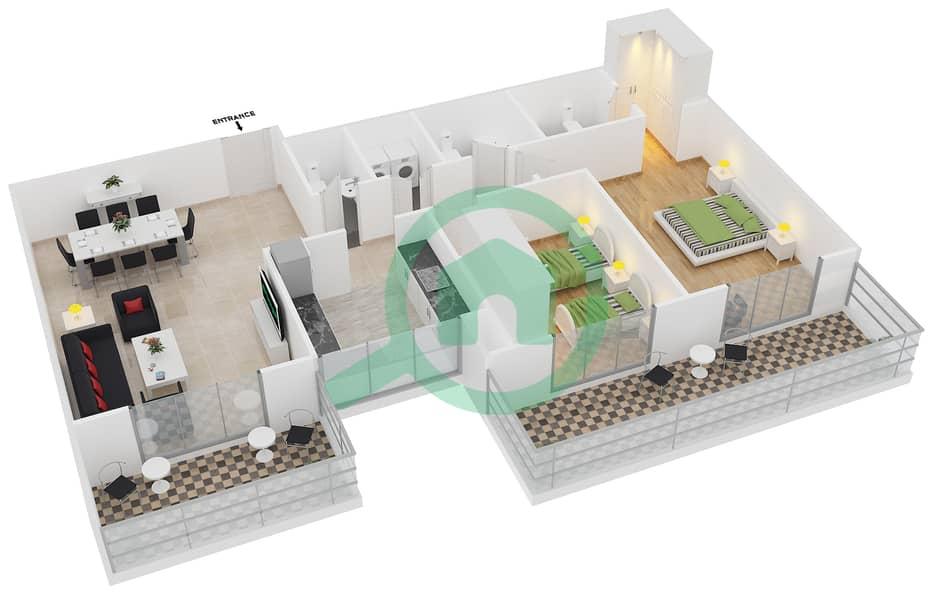 المخططات الطابقية لتصميم النموذج / الوحدة 2B/02 شقة 2 غرفة نوم - عزيزي آيريس image3D