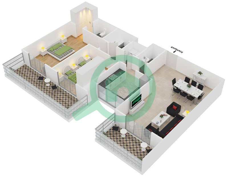المخططات الطابقية لتصميم النموذج / الوحدة 1B/01 شقة 2 غرفة نوم - عزيزي آيريس image3D
