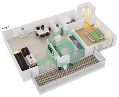 Azizi Iris - 1 Bedroom Apartment Type/unit 2A/08 Floor plan