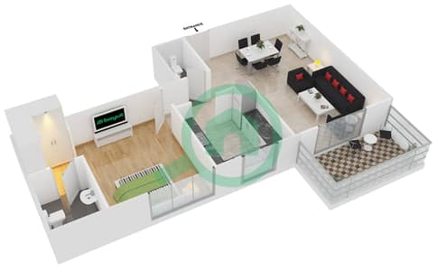 Azizi Iris - 1 Bedroom Apartment Type/unit 1A/06 Floor plan