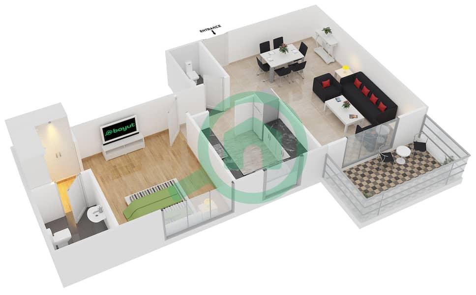 المخططات الطابقية لتصميم النموذج / الوحدة 1A/06 شقة 1 غرفة نوم - عزيزي آيريس image3D
