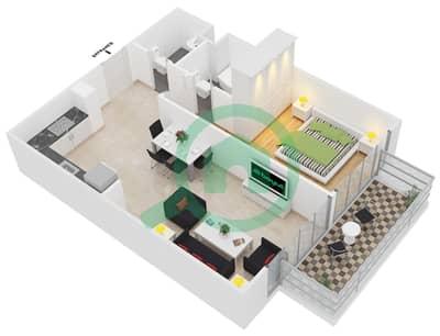 المخططات الطابقية لتصميم النموذج 4 شقة 1 غرفة نوم - عزيزي بيرل