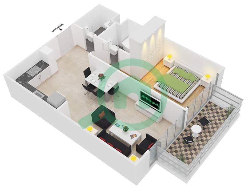 المخططات الطابقية لتصميم النموذج 4 شقة 1 غرفة نوم - عزيزي بيرل Floor 1-7 image3D