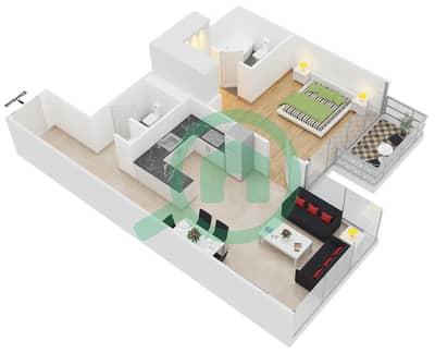 المخططات الطابقية لتصميم النموذج 3 شقة 1 غرفة نوم - عزيزي بيرل