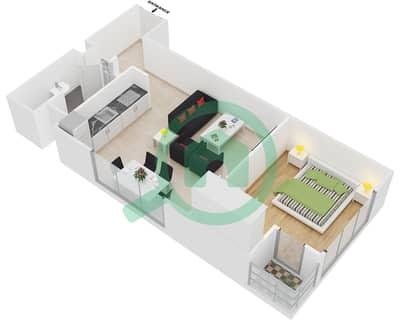 المخططات الطابقية لتصميم النموذج 2 شقة 1 غرفة نوم - عزيزي بيرل