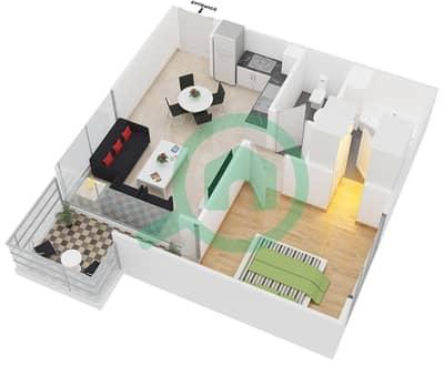 المخططات الطابقية لتصميم النموذج 1 شقة 1 غرفة نوم - عزيزي بيرل