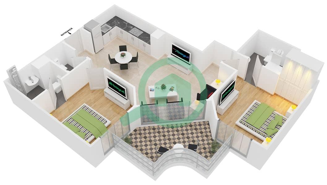 المخططات الطابقية لتصميم النموذج 1 شقة 2 غرفة نوم - عزيزي بيرل Floor 1-7 image3D