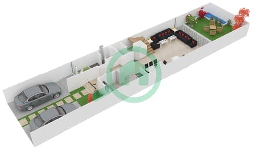 المخططات الطابقية لتصميم النموذج 3 تاون هاوس 3 غرف نوم - دريمز من دانوب