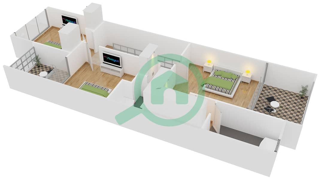 المخططات الطابقية لتصميم النموذج 3 تاون هاوس 3 غرف نوم - دريمز من دانوب First Floor image3D