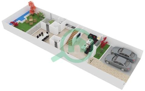 المخططات الطابقية لتصميم النموذج 1M تاون هاوس 4 غرف نوم - دريمز من دانوب