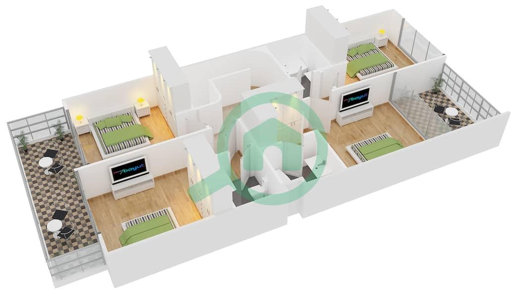 المخططات الطابقية لتصميم النموذج 1E تاون هاوس 4 غرف نوم - دريمز من دانوب First Floor image3D