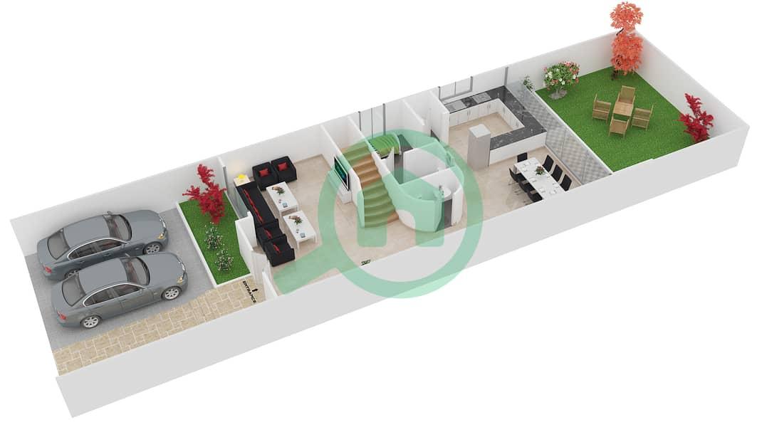 المخططات الطابقية لتصميم النموذج 1E تاون هاوس 4 غرف نوم - دريمز من دانوب Ground Floor image3D