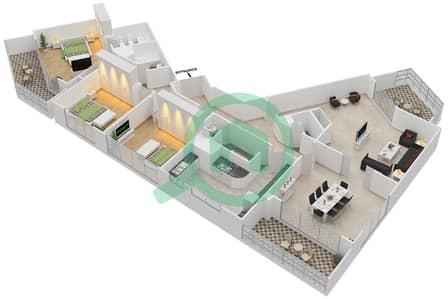 المخططات الطابقية لتصميم النموذج 3-B شقة 3 غرف نوم - برج الفهد 2