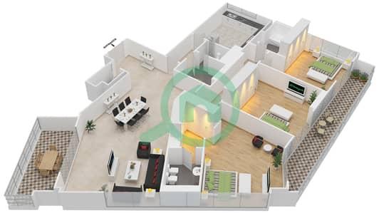 المخططات الطابقية لتصميم النموذج 3-A شقة 3 غرف نوم - برج الفهد 2