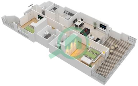 المخططات الطابقية لتصميم النموذج 2-F شقة 2 غرفة نوم - برج الفهد 2