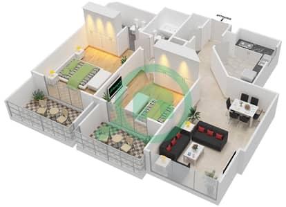 المخططات الطابقية لتصميم النموذج 2-E شقة 2 غرفة نوم - برج الفهد 2