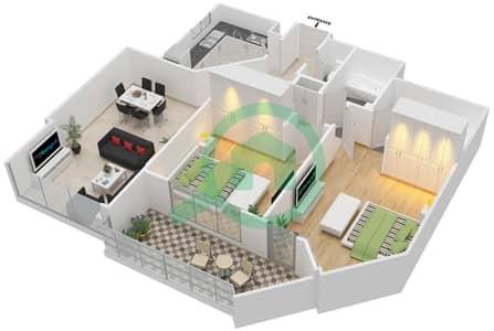 المخططات الطابقية لتصميم النموذج 2-D شقة 2 غرفة نوم - برج الفهد 2