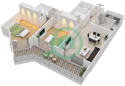 المخططات الطابقية لتصميم النموذج 2-C شقة 2 غرفة نوم - برج الفهد 2