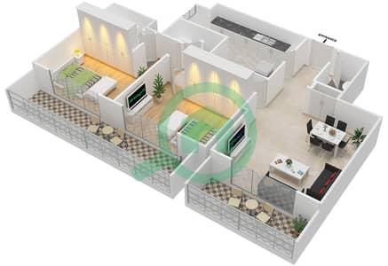 المخططات الطابقية لتصميم النموذج 2-B شقة 2 غرفة نوم - برج الفهد 2