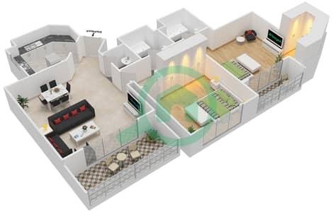 المخططات الطابقية لتصميم النموذج 2-A شقة 2 غرفة نوم - برج الفهد 2