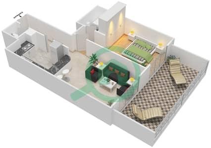 المخططات الطابقية لتصميم النموذج 1-A شقة 1 غرفة نوم - برج الفهد 2