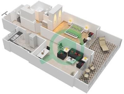 المخططات الطابقية لتصميم النموذج 1-B شقة 1 غرفة نوم - برج الفهد 2