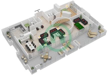 المخططات الطابقية لتصميم النموذج A,F شقة 4 غرف نوم - برج الفهد 1