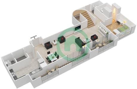 المخططات الطابقية لتصميم النموذج E شقة 3 غرف نوم - برج الفهد 1