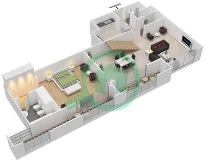 المخططات الطابقية لتصميم النموذج B,C شقة 3 غرف نوم - برج الفهد 1
