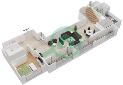 المخططات الطابقية لتصميم النموذج D شقة 4 غرف نوم - برج الفهد 1